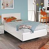 Jugendbett 120*200 cm hochglanz weiß Jugendliege Kinderbett Bettliege Bett Bettgestell Gästezimmer Jugendzimmer Kinderzimmer