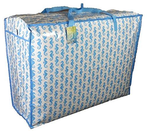 Super grand sac de rangement de 115 litres. Motif hippocampe Bleu. Toy sac, le lavage et le sac à linge
