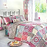 Dreams & Drapes, Blau, Pink, Bedspread (229 x 195 cm)