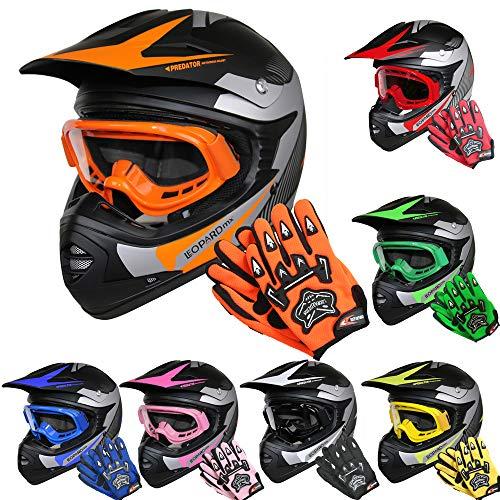 Leopard LEO-X19 *ECE 2205 Genehmigt* Kinder Motocross MX Helm Motorradhelm Crosshelm Kinderquad Off Road Enduro Sport + Handschuhe + Brille - Orange XL ()