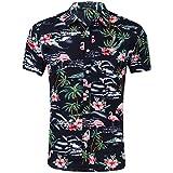 AIDEAONE Herren Hawaiian Style Flamingo Hemd Kurzarm Tropisch Hemd Urlaub Hemden