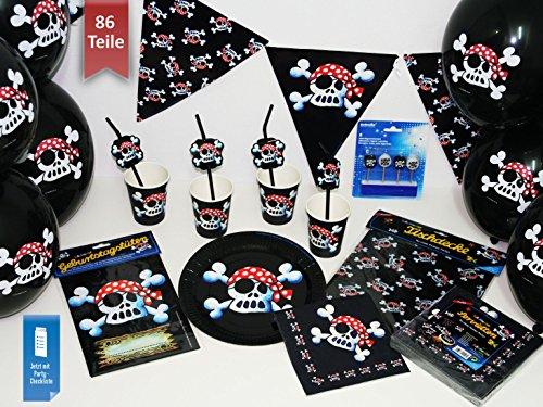 Preisvergleich Produktbild Basic-Partyset Pirat Jolly Roger für 12 Kinder