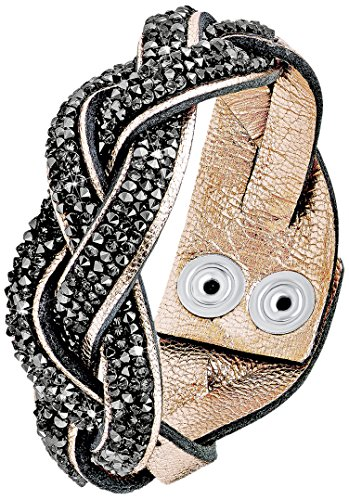 s.Oliver Damen-Armband Let's Celebrate Swarovski Rocks Messing Leder Kristall grau 18.5 cm - 515955 (Messing Und Leder)