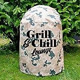 NOVELY Grillabdeckung Camouflage mit Aufdruck für Kugelglrills (C2 Camouflage Hell, 01 Grill and Chill Lounge)