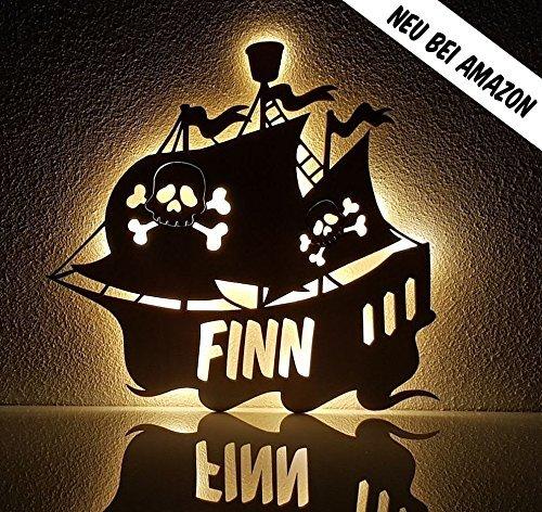"""Schlummerlicht/Nachtlicht""""Piratenschiff"""" - personalisiert mit Namen - Optional mit Zugschalter und Lackierung 11"""