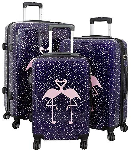 1 Kofferset 3tlg. Hartschale Größen S M L Design Flamingo Material Polycarbonat Trendyshop365