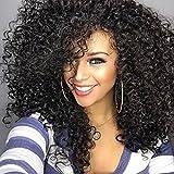 1234 lockiges Haar, Perücke, kurze lose Wavy mit synthetische Lace-Front-Perücke-Curl-Warm-Perücke, Schwarz, langes Haar, für Damen