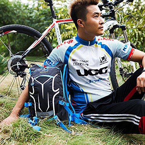 18L Leichter Rucksäcke Fahrradrucksäcke, Schulterrucksack Sport Reittasche Wasserdicht Breathable Basketball Zip Pack mit Regenschutzkappe BLAU