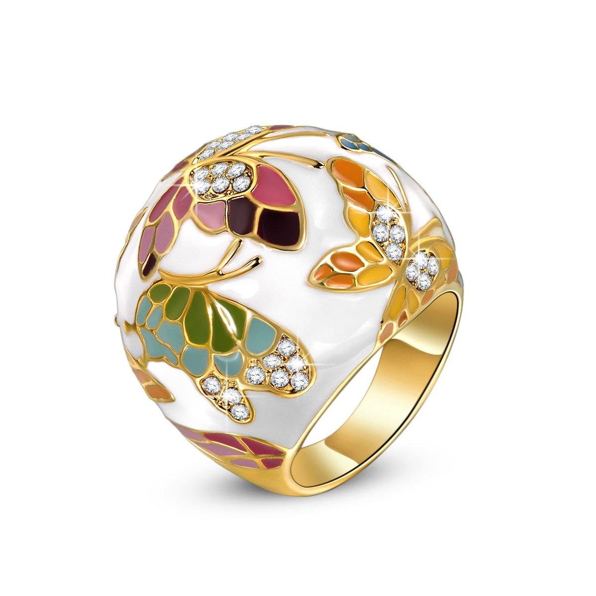 Kami Idea Anillo, Primavera de Versalles, Mariposa Exquisito Esmalte, Embalaje de Regalo, Regalo Mujer Navidad