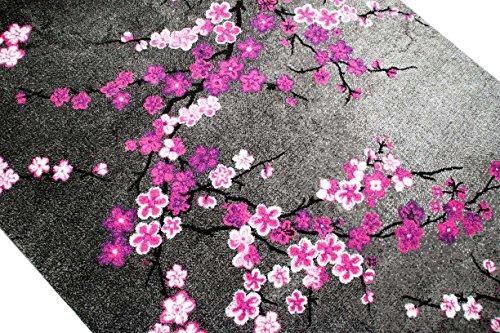 Designer Teppich Moderner Wohnzimmer Blumenmuster Grau Lila Pink Weiss Rosa