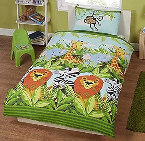 Jungle Friends Parure de lit pour enfant Housse de couette et taie d'oreiller, Lion, Éléphant, girafe, singe, coton/polyester,