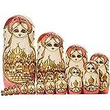 YAKELUS marquedepoupéesgigognes15pièces Série de Poupées Russes Matriochkas Poupee Russes 15 pieces en Bois Peints fabricationmanuellecadeaux jouets15096
