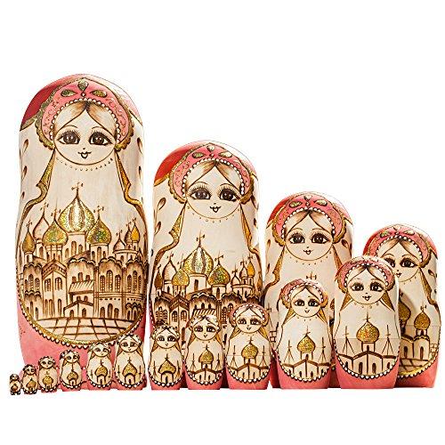 YAKELUS marca profesional de Matrioska, Muñecas Rusas Matrioska 15 piece Madera Matrioska de Rusia de 15 capas, hecha a mano y por el tilo, es un juguete y un regalo15096