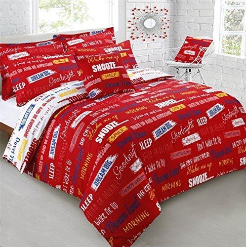 snooze Sleep Wake Up Red King Size bianco misto cotone copripiumino Consolatore