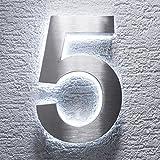 Metzler-Trade - Hausnummer aus V2A Edelstahl - mit indirekter LED-Beleuchtung - in weiß - rostfrei und wetterfest - klassisches Design - spritzwassergeschützt - Höhe: 200 mm Stärke: 35 mm (5)