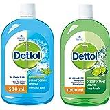 Dettol Liquid Disinfectant for Multi-Purpose Germ Protection, Menthol Cool, 500 ml & Dettol Liquid Disinfectant Cleaner for H