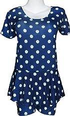 I-Swim Ladies Swimming Costume Dark Blue with White Dots