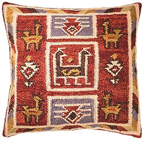Chant Kilim housse de coussin fait main sur la fabrication à l'aide du Commerce Équitable 80/20laine/coton et teintures naturelles, 45x45