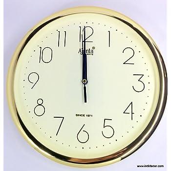 Ajanta Quartz Golden Ring Plastic Wall Clock (28 cm x 3.4 cm x 28 cm, Ivory)