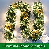 ginkago Weihnachtsgirlande Beleuchtung, 2.7M Leuchtend Künstlich Weihnachtsdeko Weihnachten Girlande Dekorationen für Treppen Wand Tür (Gold)