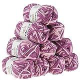 maDDma 10 x 50g Filzwolle Chimera, Wolle Zum Strickfilzen, Verschiedene Farben, Farbe:Purple Dream