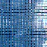Mosaico de Vidrio en Malla DEC-74291AXT005, Azul, 4 mm, 32.7 x 32.7 cm, Set de...