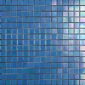 Mosaico de Vidrio en Malla DEC-74291AXT005, Azul, 4 mm, 32.7 x 32.7 cm, Set de 10 Piezas