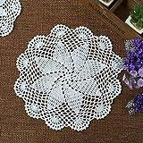 Yazi set di 4sottobicchieri a mano all' uncinetto centrini a forma di fiore di vetro rotondo centrini in cotone per tazza 20cm