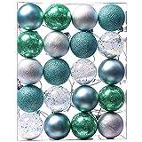 Valery Madelyn 20 Stücke 6CM Kunststoff Weihnachtskugeln Set Blau Grün Silber Christbaumkugeln mit Aufhänger Weihnachtsbaumschmuck Weihnachten Dekoration
