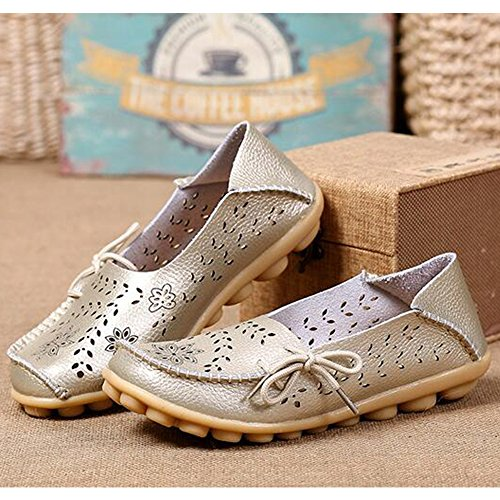 Eastlion Hohle Lederne Loch-Schuh-flache Untere Schuhe Beiläufige Krankenschwester-Schuhe Farbe 16