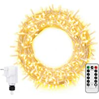 Ollny Fairy Lights 20m 200 LED Warm White Plug in, String Lights Mains Powered with Remote Control & Timer, 8 Modes for…