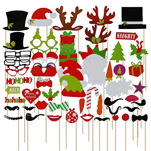 Lictin 67 pcs Weihnachten Fotorequisiten & Fotoaccessoires Photo Booth Fotorequisiten Fotobox Accessoires Foto Requisiten