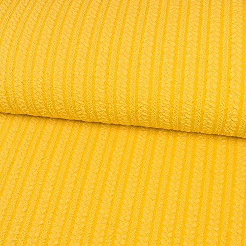 Jacquard Jersey Sommer Zopfstrick gelb Strickstoff Strick Öko-Tex Standard 100 - Preis gilt für 0,5 Meter