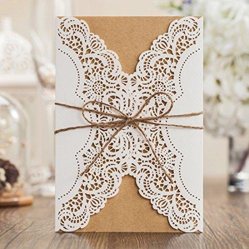 wishmade Hochzeit Einladungen Kits 20Stück, ivory Lace Laser Schnitt mit Handgefertigt Seil für Ehe Quinceanera Brautschmuck Geburtstag Karten (Hochzeit Einladung-kit Braut)
