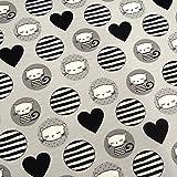 0,5m Jersey Katzen Kreise Herzen grau 5% Elasthan 95%