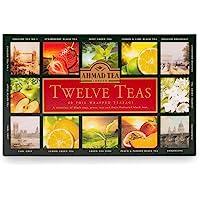 Ahmad Tea Twelve Selection - Pregiato Cofanetto con Selezioni Esclusive di Tè Nero e Verde Puri O Aromatizzati Alla…