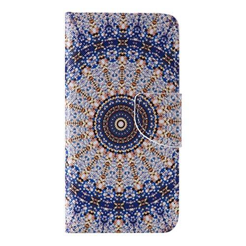 CaseHome iPhone 6/6S 4.7'' Mode Elegant PU-Leder Etui (Mit freiem HD Schirm-Schutz) Bunt Stilvoll Stand-Funktion Geprägtes Muster Gedruckt Entwurf Stoßfest Anti-Rutsch PU-Leder Fall Abdeckung Schale H Blau und Gold Mandala