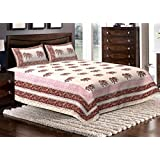 Avighna Beautiful Rajasthani Hand Block Print 100% Cotton Bed Sheet With 2 Pillow Cover King Size 90X108 Inch Approx