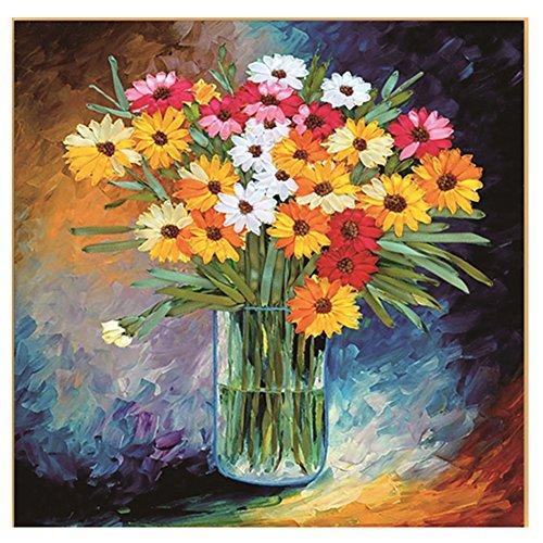 egoshop Seidenband Stickpackung Ölgemälde Blumenstrauß DIY Wand Decor Stempel Seide Stickpackung mit Englisch Anleitung