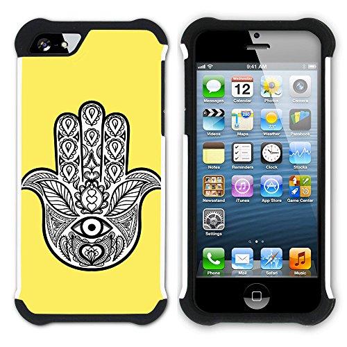 Graphic4You Hamsa Hand der Fatima (Wasserblau) Hart + Weiche Kratzfeste Hülle Case Schale Tasche Schutzhülle für Apple iPhone SE / 5 / 5S Gelb