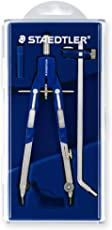 Staedtler 552 02 Mars Comfort Quick Action Compass With Self-Running Spindle And Extension Rod In Flap Cover Case Blue/Silver