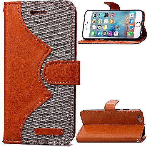 sibaina Étui pour téléphone portable Apple iPhone 66S Plus, nouveau design Portefeuille en cuir PU à rabat avec Jean Étui pour téléphone mobile Housse pour iPhone 6Plus Sac 6S, Cuir synthétique, ble Gris