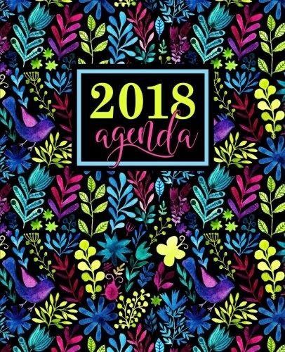 Agenda: 2018 Agenda semainier : 19x23cm : Motif aquarelle florale arc-en-ciel