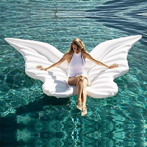 ZCZUOX XXL Flügel Badeinsel weiß, aufblasbare Riesen Luftmatratze, Wasser-Liege, Pool-Lounge, Schwimmreifen für Kinder und Erwachsene