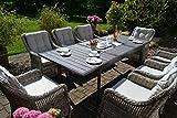 bomey Rattan Lounge Set I Gartenmöbel Set Como 9-Teilig I Essgarnitur mit Polstern I Sitzgruppe Grau + Tisch Ausziehbar + Polster Beige I Dining Lounge für Garten + Terrasse + Wintergarten