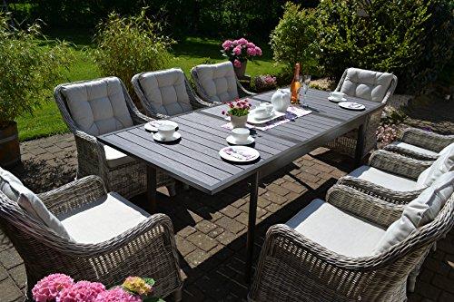 bomey Rattan Lounge Set I Gartenmöbel Set Como-XL 9-Teilig I Essgarnitur mit Polstern I Sitzgruppe Grau + Tisch Ausziehbar + Polster Beige I Dining Lounge für Garten + Terrasse + Wintergarten