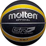 MOLTEN - Balón de baloncesto (talla 7), color negro y amarillo