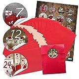 '24rouges de Noël papier Sachets (9,5x 14cm) et 24ronds autocollants Stickers 4cm 'calendrier de l'avent chiffres 1à 24pour calendrier de l'avent soi-même bricolage; Qualité 1A.
