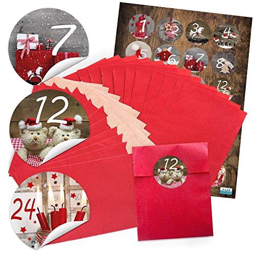 """'24rouges de Noël papier Sachets (9,5x 14cm) et 24ronds autocollants Stickers 4cm """"calendrier de l'avent chiffres 1à 24pour calendrier de l'avent soi-même bricolage; Qualité 1A."""