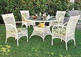 Gartenmöbelsets Tischgruppe Gartensitzgruppe Geflecht weiß karamell wetterfest, Farbe:caramel